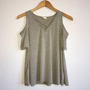 Olive Green Cold-Shoulder Top